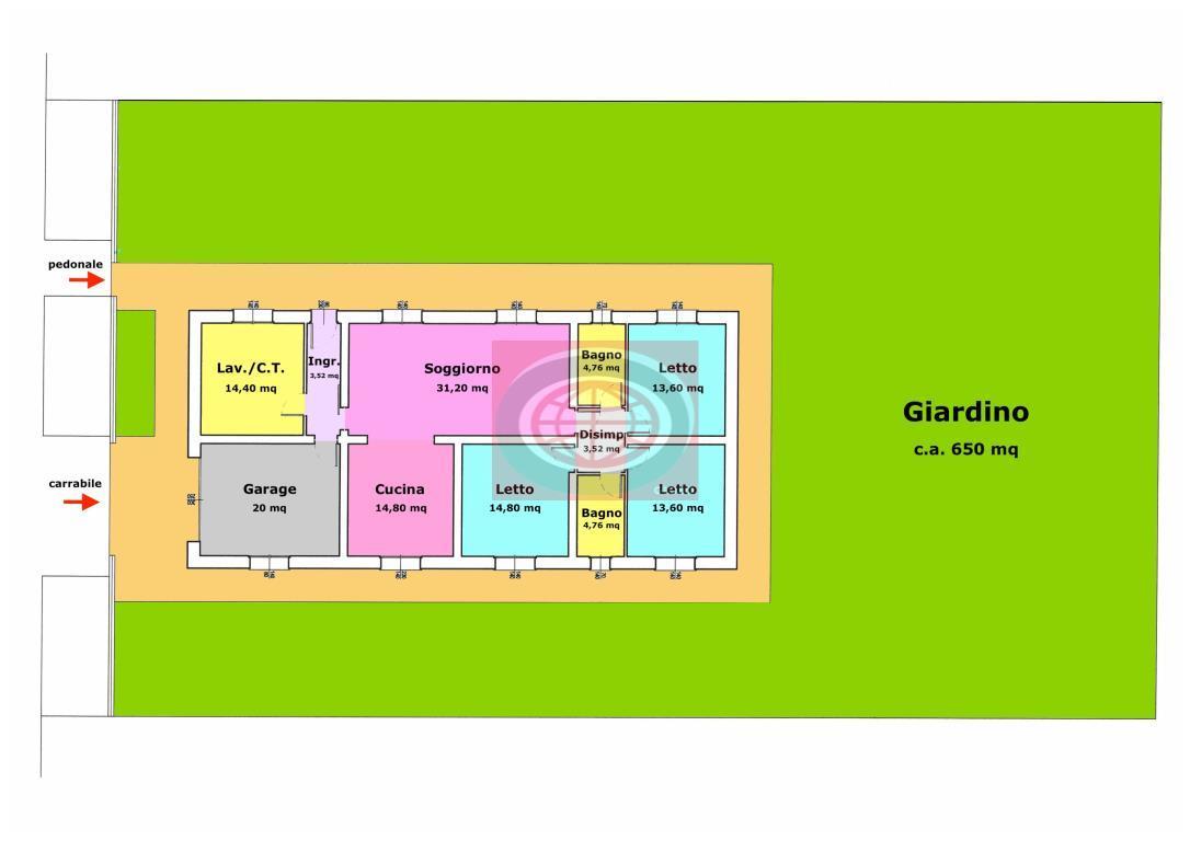 S. Giorgio di Cesena - casa indipendente su un unico livello con giardino di 650 mq