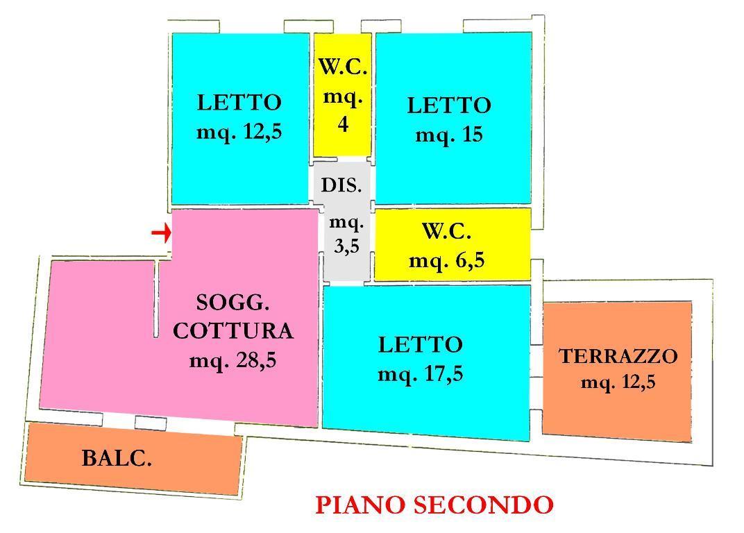 Vendita di un appartamento in buono stato a Cesena, con tre camere da letto, due bagni, ampia zona giorno, garage e cantina